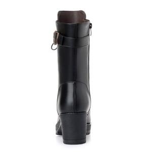 Image 4 - Morazora 2020 botas de couro genuíno quente mulheres zip fivela de lã de ovelha quente botas de neve alta heela inverno plataforma tornozelo botas senhora