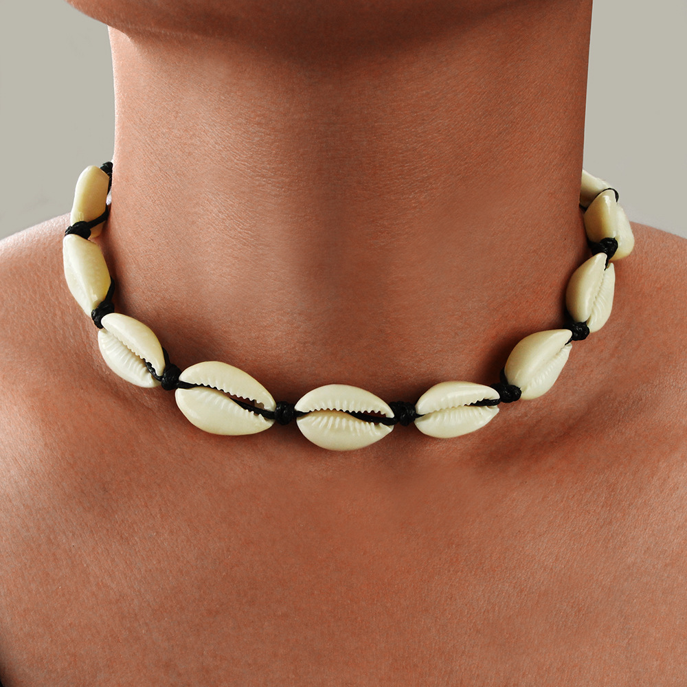 Seashell Neckalce Women Jewelry Summer Beach Shell Choker Bohemian Rope Cowrie Beaded Necklaces For Women