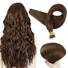 VeSunny Pre Bonded Hair Extensions I Tip Stick Tip Hair Extensions 100% Real Human Hair for Women Silky Straight Brown Keratin