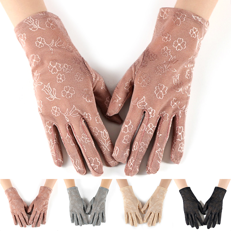 Flower Printed Driving Gloves Lady Etiquette Elastic Lace Gloves Summer Sunscreen Lace Wrist Gloves Colorful Protection Mittens