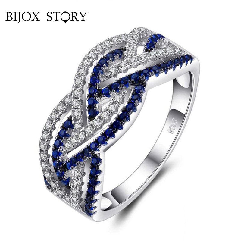 BIJOX STORY elegant 925 sterling silver jewellery ring with sapphire gemstones rings for women wedding engagement banquet gifts