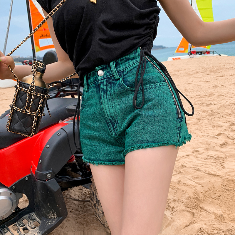 OkuohaoJEANS Side Zipper Tassel Green Washed Denim Shorts Women High Waist Summer Thin Thin A-Line Pants