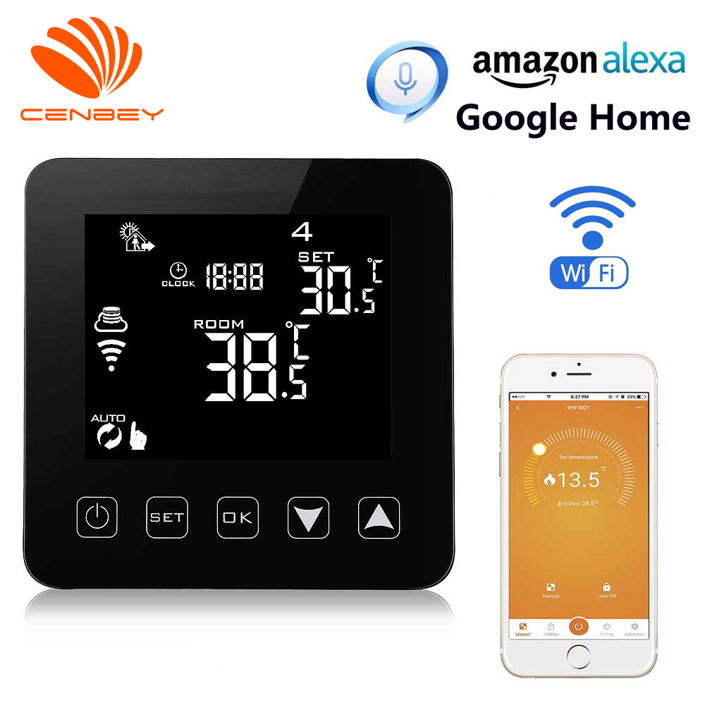 Wifi Thermostat Alexa Programmable Smart Thermostat Voice Gas Boiler Electric Underfloor Heating Central Heating Room Thermostat