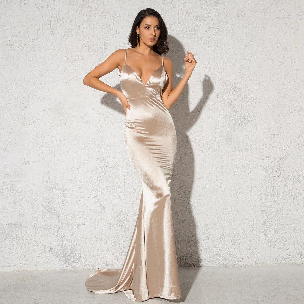 Deep V-Neck Burgundy Satin Mermaid Open Back Long Evening Dress 13