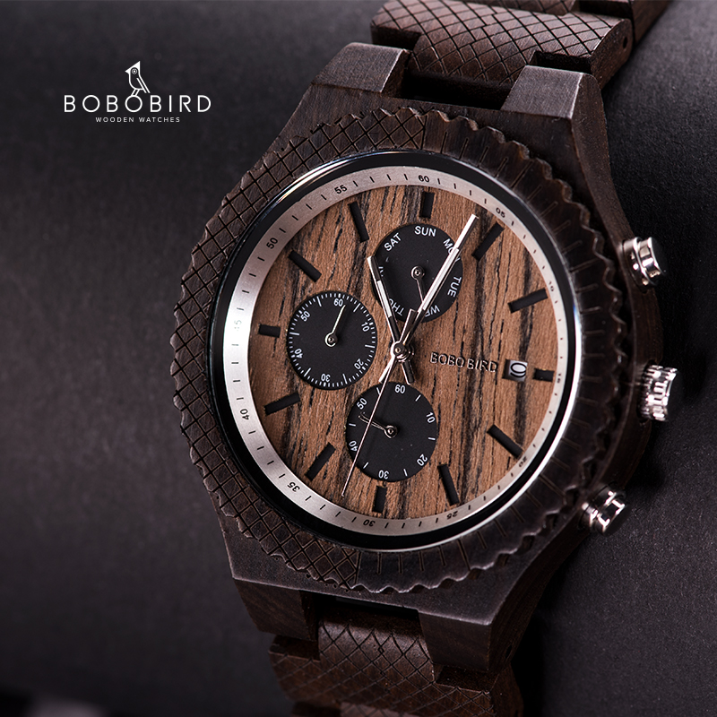BOBO BIRD Date Display Wood Watch Special Pattern Watch Wood Strap Design Ultra-High Precision Timepieces Valentine's Day