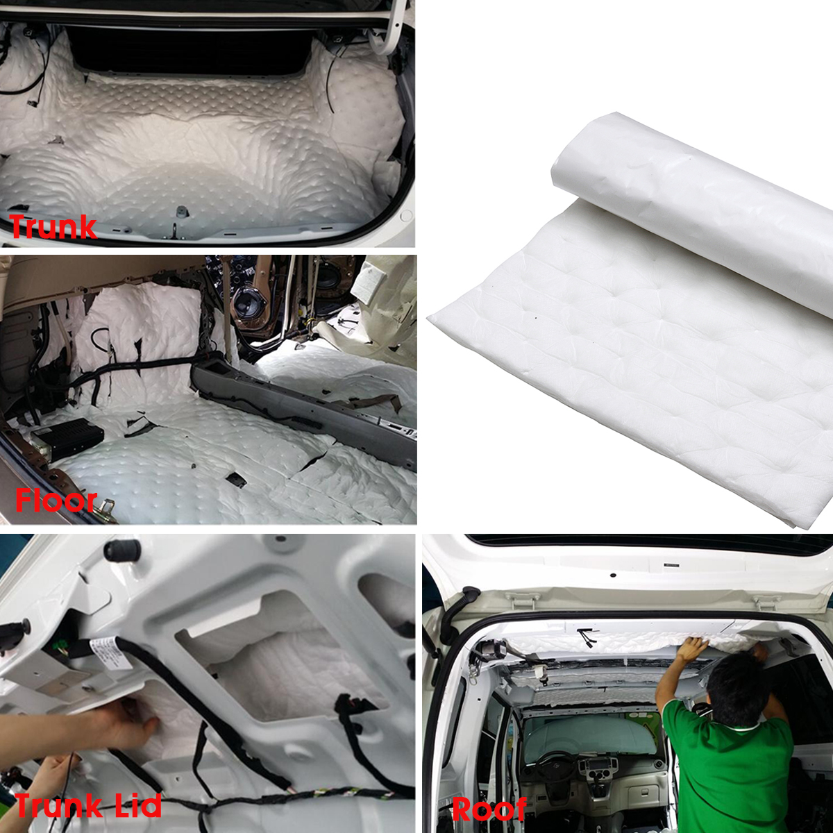50*80cm Car Sound Deadener Mat Noise Bonnet Insulation Deadening Hood Engine Firewall Heat Aluminum Foam Sticker Waterproof