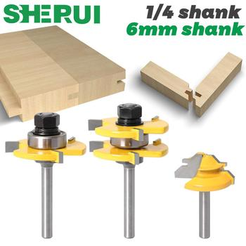 3 pc 6mm 1/4 Shank high quality Tongue & Groove Joint Assembly Router Bit 1Pc 45 Degree Lock Miter Route Set Stock Wood Cutting - discount item  50% OFF Machinery & Accessories