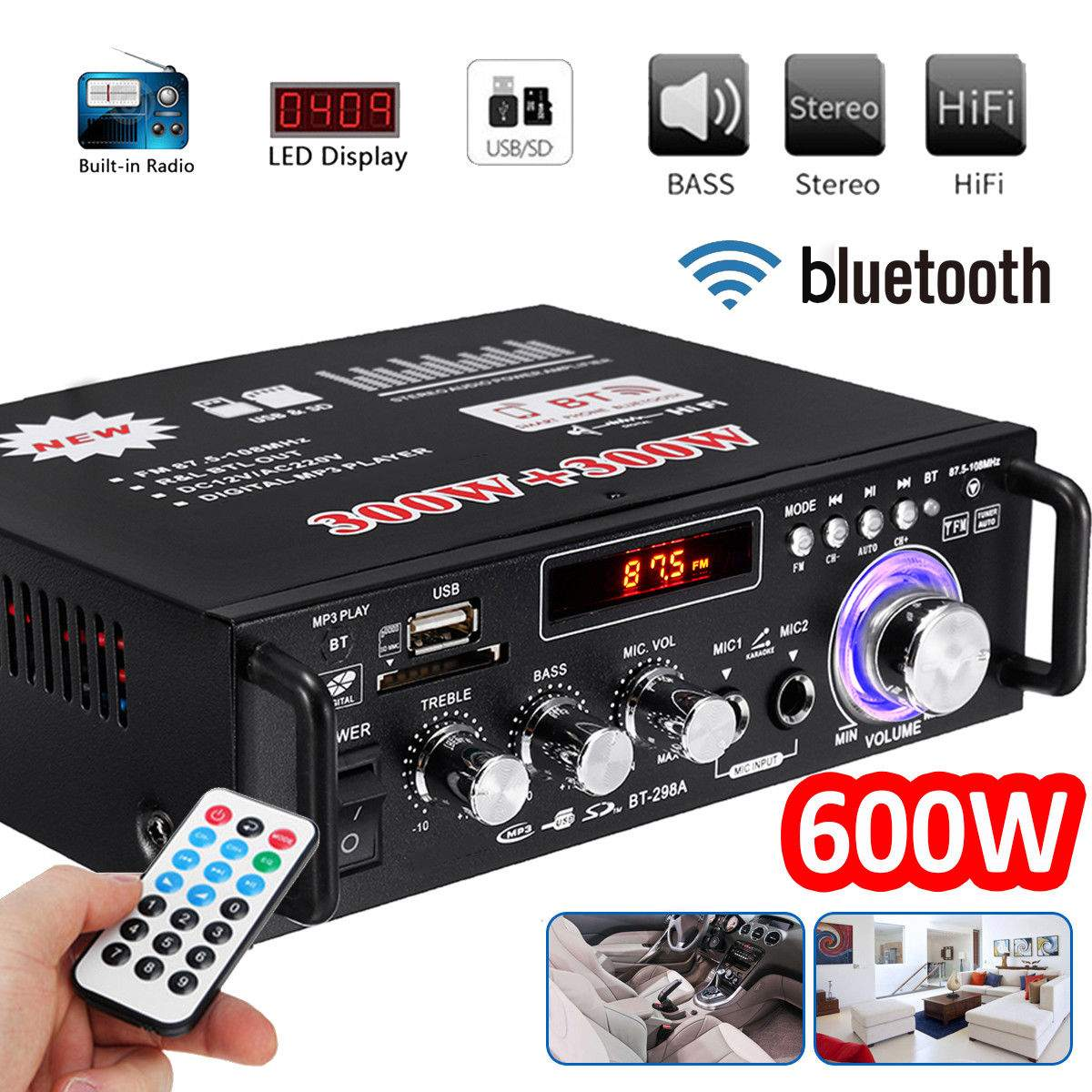 600W Home <font><b>Amplifiers</b></font> Audio bluetooth <fo