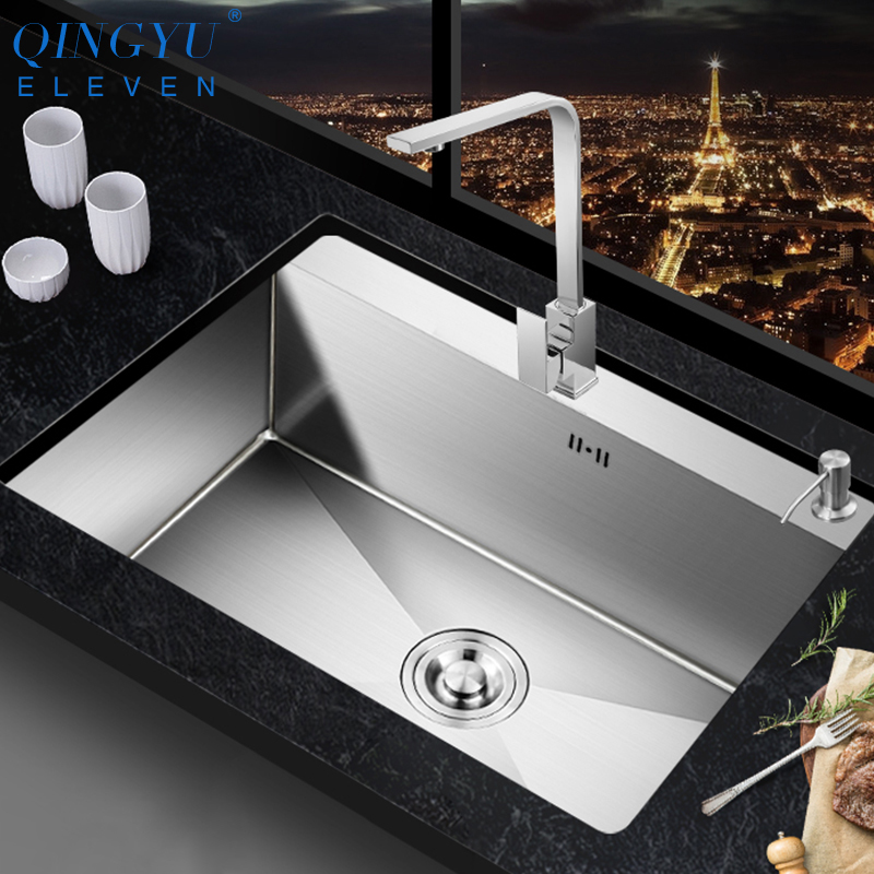 QINGYU ELEVEN Kitchen Sink Lead-free Austenitic Handmade Brushed 304 Stainless Steel 3mm Thickness Single Bowl Kitchen Sink
