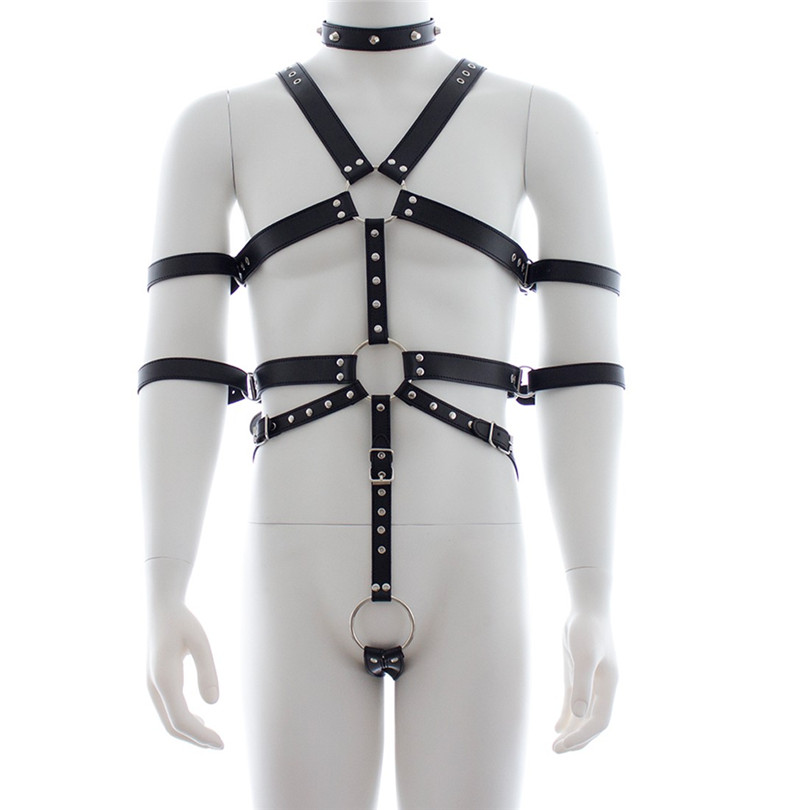 Leather Harness For Mens Bondage Full Body PU Leather Sexy Restraint Set Adjustable Straps Open Butt Gay Club Straps With O Ring
