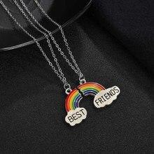 2 Pçs/set Colar Melhor Amigo Charme Rainbow Heart Grava Melhor Amigo Para Sempre Colar Pingente Amizade BFF Presente Da Jóia