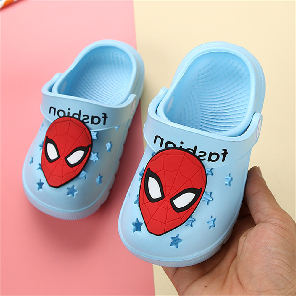 Water Shoes Children Slippers Spiderman Design Baby Boys Summer Sandals Blue Hole Shoes Soft EVA Kids Crocs Slippers For Boys