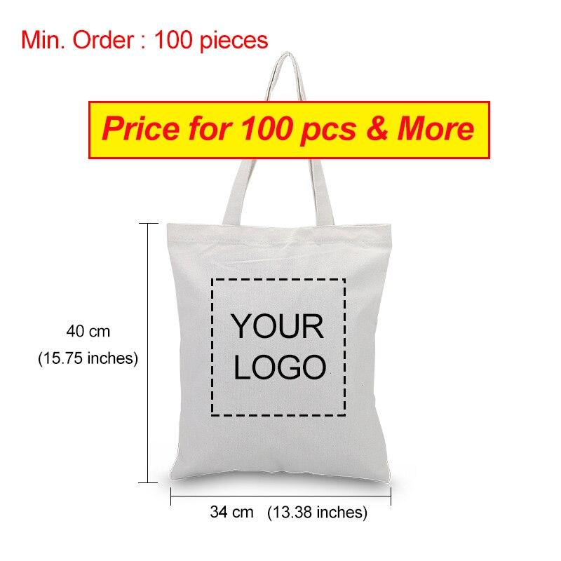 100 pièces grande taille personnalisé toile fourre-tout sac impression logo texte quotidien sac à main Eco réutilisable recyclage sac à provisions