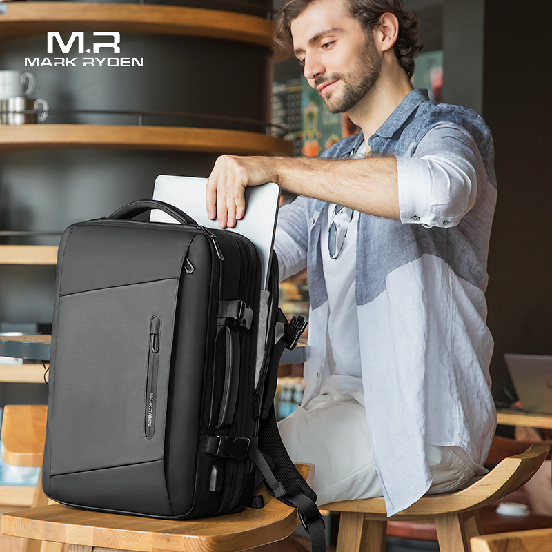 Image 4 - Mark Ryden 17 inch Laptop Backpack Raincoat Male Bag USB Recharging Multi layer Space Travel Male Bag Anti thief Mochila-in Backpacks from Luggage & Bags