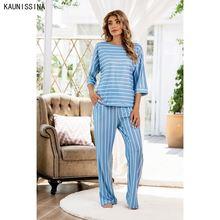 Женские пижамные комплекты больших размеров Топ с длинным рукавом