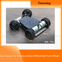 Smart Car Chassis For Arduino Active Differential Front Wheel Servo Steering Gear Drive Belt Encoder Double Motor DIY RC Toy