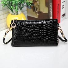 купить Women Simple Style PU Leather Small Shoulder Crossbody Bag Black Crocodile Clutch Pouch Bags Ladie Evening Party Handbags #A по цене 60.57 рублей