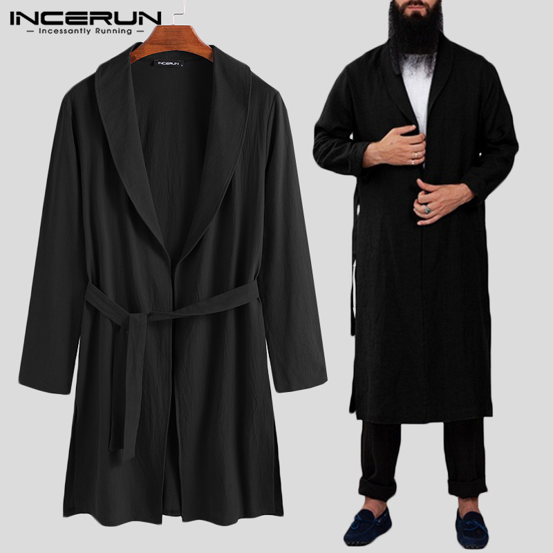 Cotton Men Robes Solid Color Long Sleeve Fitness Casual Homewear Vintage Long Bathrobes Lapel Men Kimono Pajamas S-3XL INCERUN