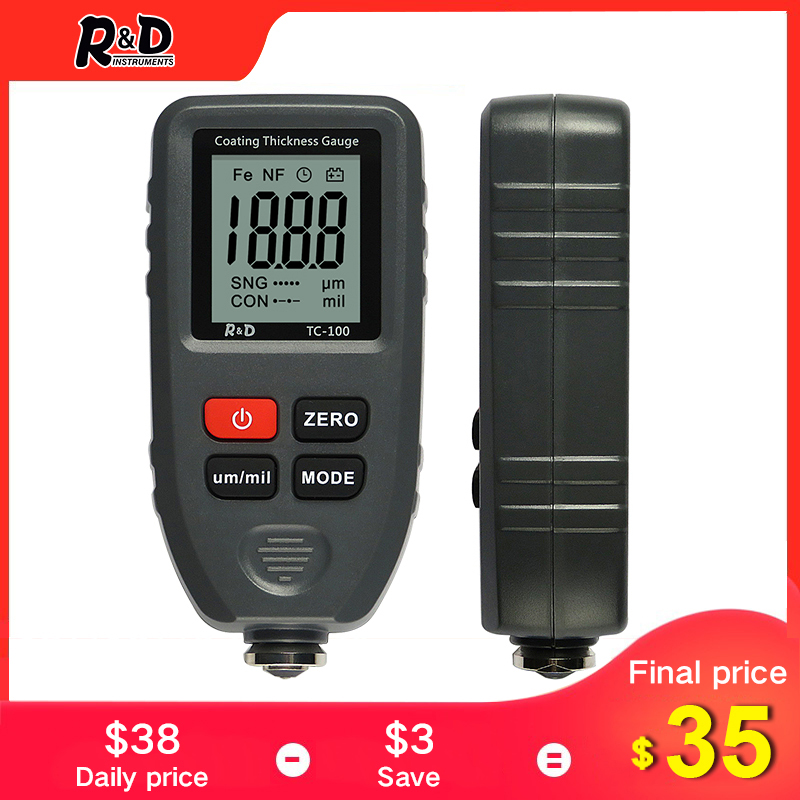 R&D TC100 Coating Thickness Gauge 0.1micron/0-1300 Car Paint Film Thickness Tester Measuring FE/NFE Russian Manual Paint Tool