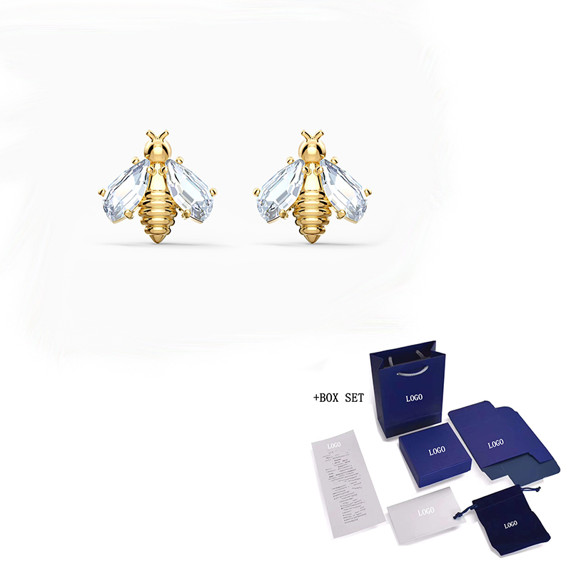 High Quality Original SWA New Style Pierced Earrings, Exquisite Golden Bee Shape Crystal Earrings, Female Fashion Jewelry Gifts