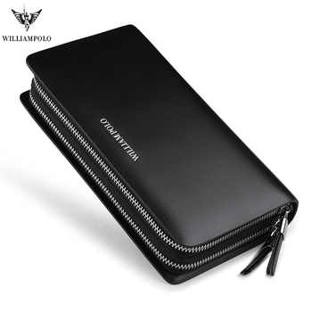 WILLIAMPOLO  Men's Clutch Wallet  Double Zipper Handy Bag Genuine Leather Organizer Wallet Fashion Male Gift Clutches pl239 - DISCOUNT ITEM  60% OFF All Category
