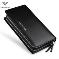 WILLIAMPOLO Men's Clutch Wallet Double Zipper Handy Bag Genuine Leather Organizer Wallet Fashion Male Gift Clutches pl239