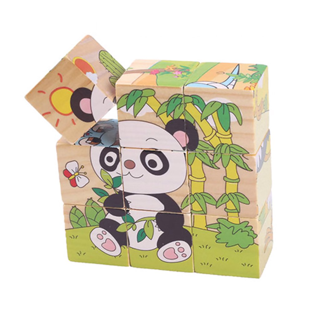 1pcs Nine Blocks Six-sided 3D Jigsaw Cubes Puzzle Blocks Animals Wooden Toys  For Children Kids Educational Toys Funny Games GYH