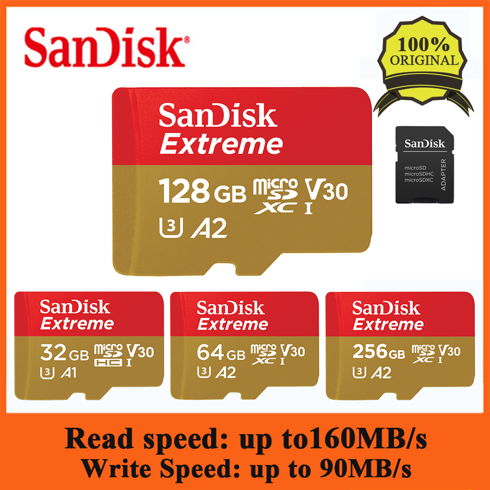 SanDisk Extreme 256G 128G 64G 32G MicroSDHC SDXC UHS-I Memory Card Micro SD Card TF Card Up To 160MB/s C10 A2 U3 With SD Adapter