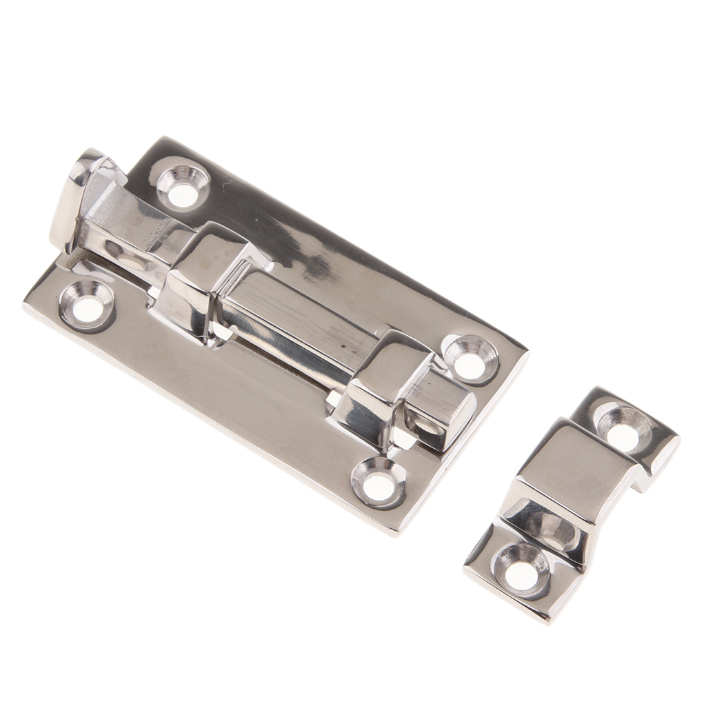 Polished Boat Barrel Bolt Door Latch Anti-Rattle, Stainless Steel 316