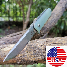 Flipper Fold Knife D2 Blade 60HRC G10 Handle Knives Slicing Fruit Good for Hunting Camping Survival Outdoor and Everyday Carry