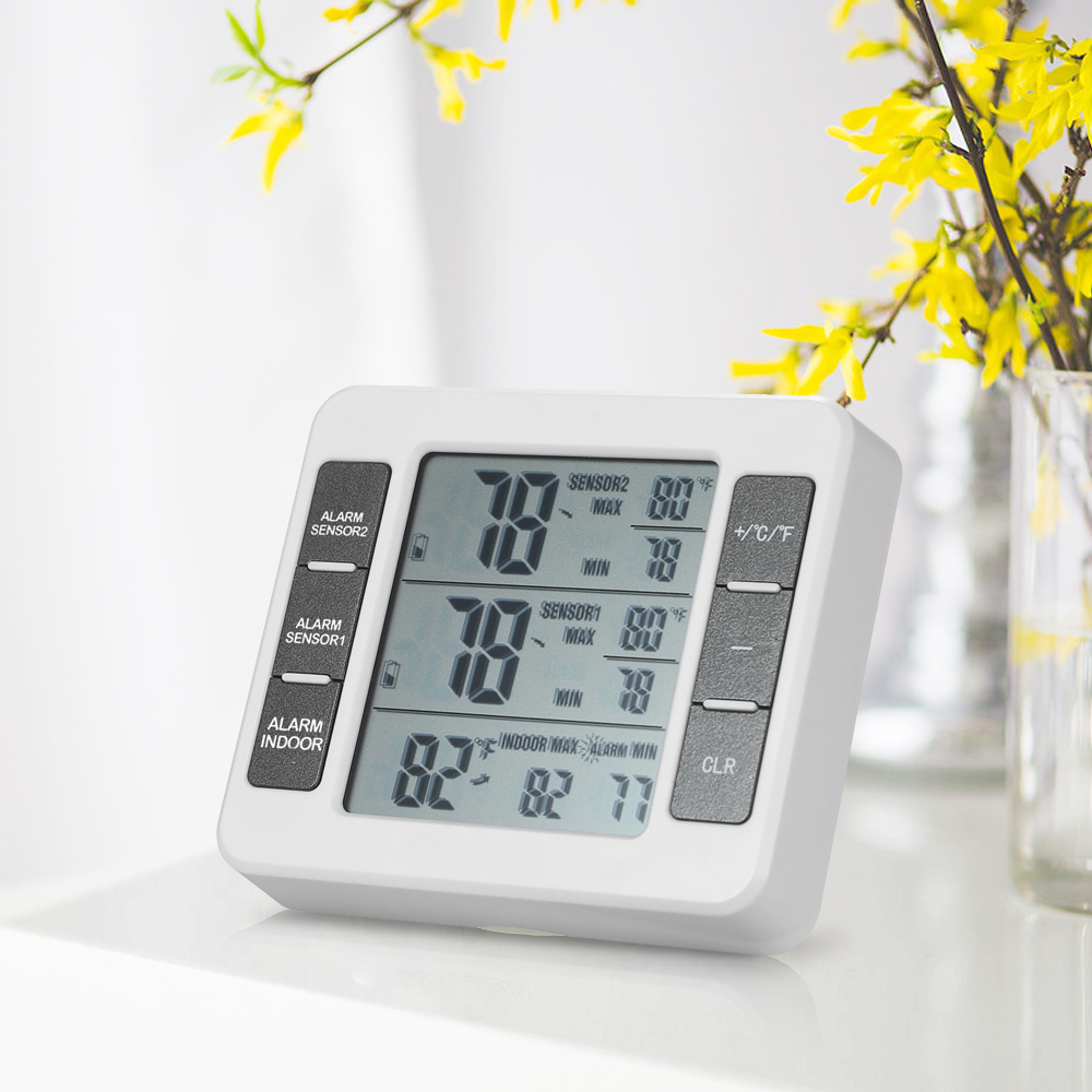 Digital LCD <font><b>Thermometer</b></font> Feuchtigkeit Wetter Station + Wireless Transmitter Mit Maximale Wert Display Home Indoor Outdoor Decor image