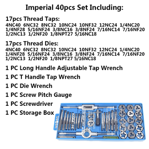 Image 3 - Hand Tools 20pcs High Quality Tap And Die Set Thread Tap And Dies Adjustable Tap Wrench 1/8 1/2 3mm 12mm Screw Tap