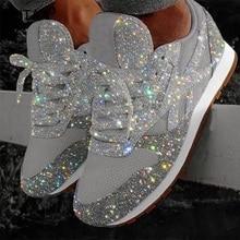 Kadın düz Glitter tuval Sneakers Casual kadın örgü dantel Up Bling rahat artı boyutu vulkanize kristal Shining kurulu ayakkabı