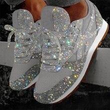 Mulheres Plana Brilho Tênis de Lona Casual Feminina Malha Lace Up Bling Confortável Plus Size Placa de Cristal Brilhando Sapatos Vulcanizados
