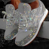 Women Flat Glitter Sneakers Casual Female Mesh Lace Up Bling Platform Comfortable Plus Size Vulcanized Crystal Shining Shoes New