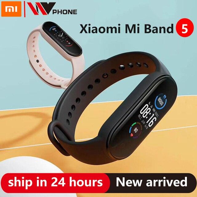Xiaomi Mi zespół 5 inteligentna bransoletka 4 kolor AMOLED ekran Miband 5 Smartband Fitness Traker Bluetooth Sport wodoodporny inteligentny zespół