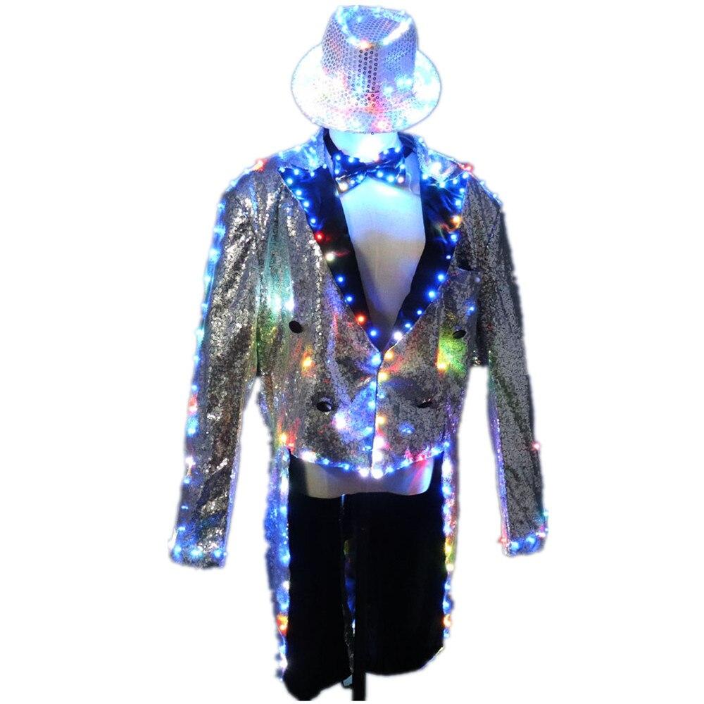 Модные светящиеся костюмы со светодиодным смокингом, светящиеся костюмы vestidos, светодиодная одежда для шоу, Мужская светодиодная одежда, ак