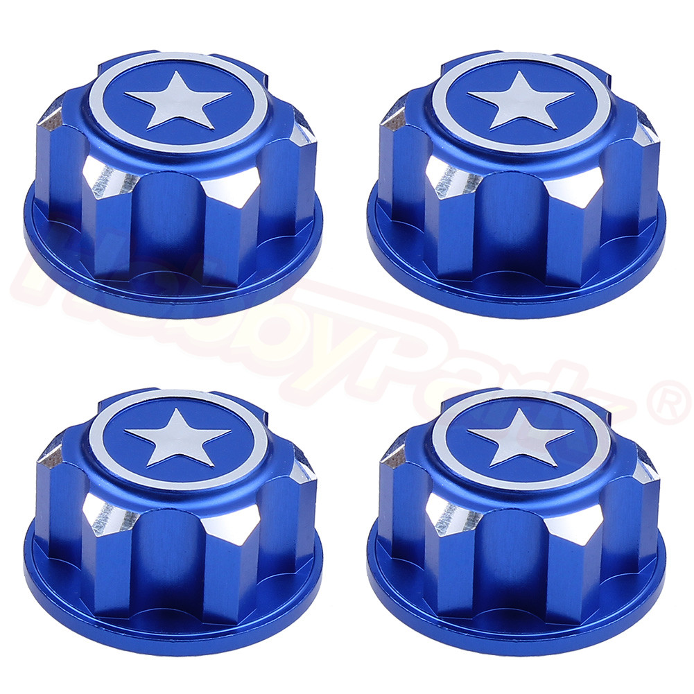 4PCS RC Car Aluminum 17mm Hex Wheel Nuts Dustproof Anti-Skid For 1/8 Scale Traxxas X-Maxx Summit E-Revo ARRMA Buggy Truck CNC