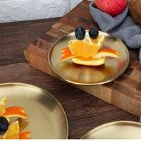 스테인레스 스틸 두꺼운 디스크 카페 트레이 과일 접시 케이크 접시 뼈 접시 접시 얕은 접시