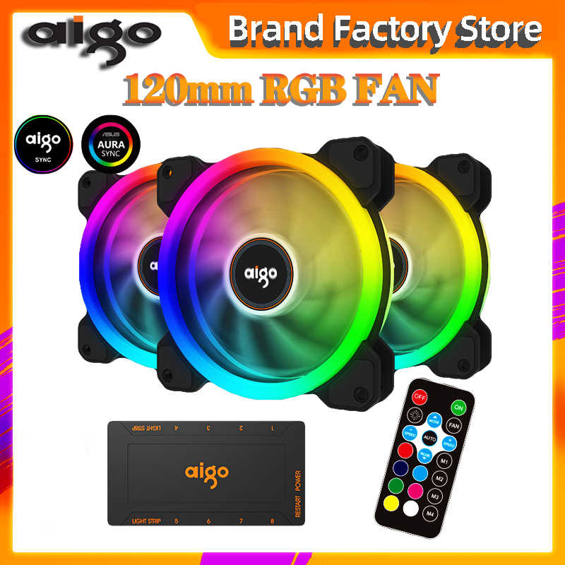 Aigo 2019 nieuwe DR12 Computer Case PC Koelventilator RGB Passen LED 120mm Stille + IR Remote Nieuwe computer cooler Cooling RGB Case Fan