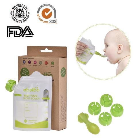 10 pces 180 ml bolsa de armazenamento de alimentos para bebe com colher saco de