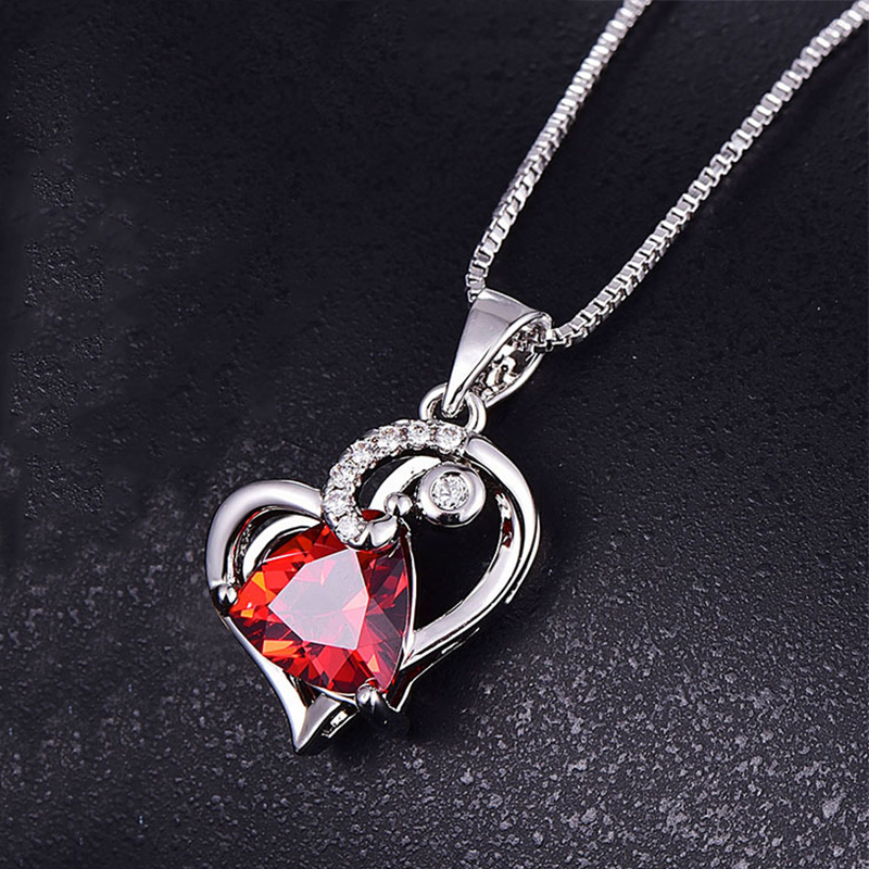 PANSYSEN Shining Heart Pendant Necklaces for Women 925 Sterling Silver Ruby Aquamarine Gemstone Fine Jewelry Necklace Wholesale