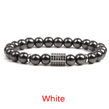 Weight Loss Stone Magnetic Health Care Magnetic Hematite Stretch Beaded Bracelets for Men Women