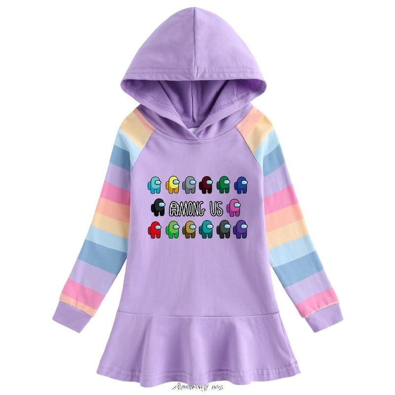 Among us Hooded Dresses for Girl Clothes Cotton Princess Dress Kids Dresses Children Clothing Girls Autumn Dress 5