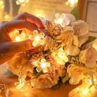 Guirnalda de luces LED de flores de cerezo con batería, lámpara de cristal claro para decoración de bodas y vacaciones