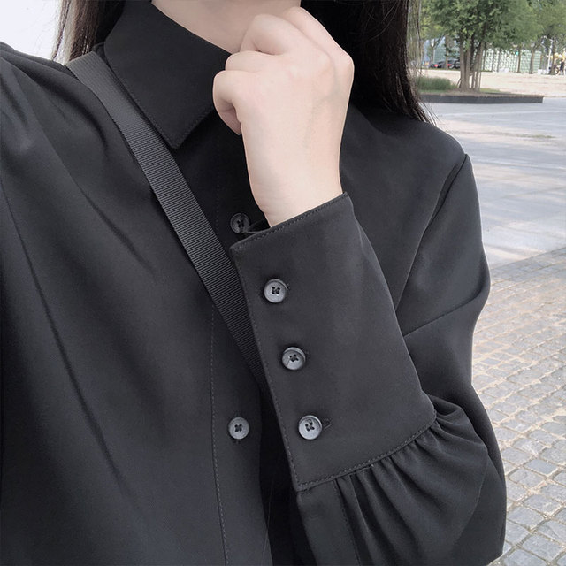 REALEFT 2020 Spring Women's Blouses Shirts Long Sleeve Turn-down Collar Korean OL Style Vintage Office Lady Black Ladies Tops 4
