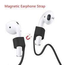 Manyetik kulaklık Airpods için Anti kayıp kayış manyetik dize halat Bluetooth TWS kulaklık silikon kablo kordonu