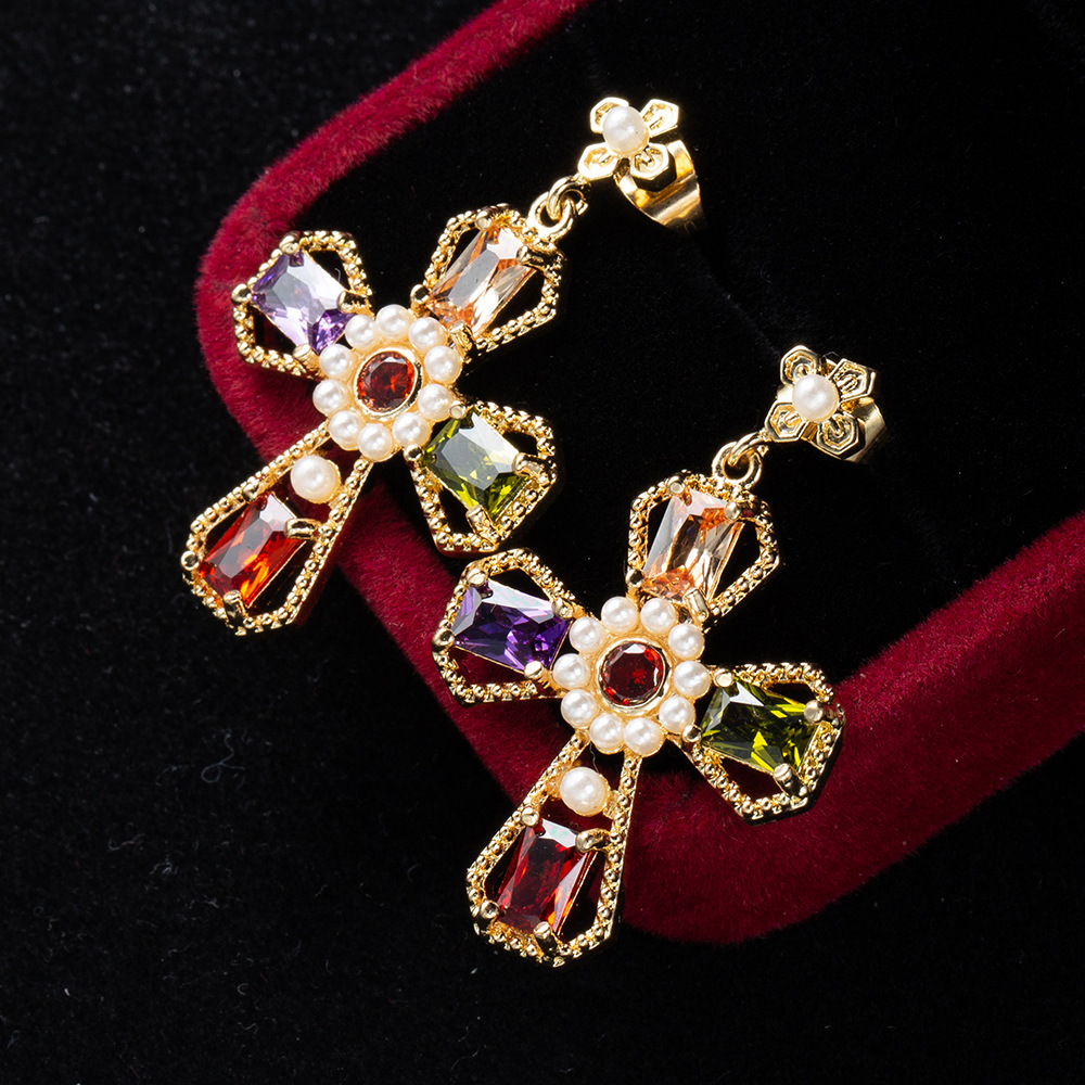 CINDY XIANG Cubic Zirconia Cross Stud Earrings For Women Baroque Style Vintgae Pearl Earring Large Fashion Jewelry High Quality