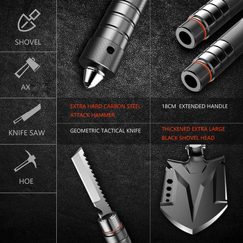 Multi-functional Engineering Shovel Set Wild Survival Tool Military Camping Equipment Folding Shovel with a Free Bag 2
