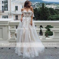 Sexy Schatz EINE Linie Spitze Appliques Brautkleider Off Schulter Chic Ärmellose Tüll Hochzeit Kleider Formale Braut Kleid 2020